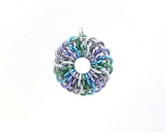 Chain Maille Pendant, Pastel Pendant, Multicolor Jewelry, Jump Ring Jewelry, Aluminum Jewelry