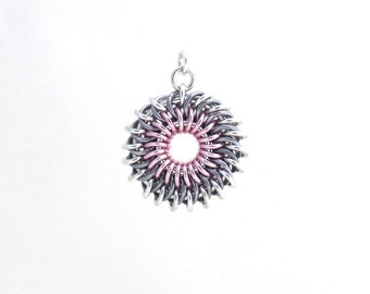 Sunburst Chainmaille Pendant, Pastel Jewelry, Multicolor Jump Ring Jewelry
