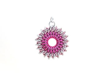 Pink Sunburst Pendant, Chain Maille Pendant, Pink Aluminum Jump Ring Jewelry