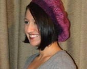 Magenta Beret Slouchy Beanie Hand Knit