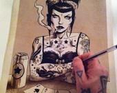 Rockabilly art, Tattoo Art, Cheat  Print by Marcus Jones