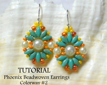 PDF Tutorial, Beading Tutorial,Pattern,SuperDuo Tutorial,Seed Bead Earrings Pattern,Earring Tutorial, Beadwork Tutorial,Tutorial,MyBeads4You