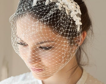 Lace birdcage veil with Swarovski pearls, full birdcage veil with beaded lace, Wedding Veil
