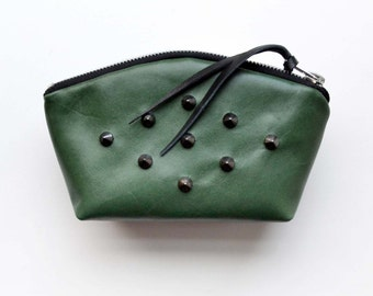 SALE! Green Diamond Studed Leather Cosmetic Makeup Bag Emerald City Evening Clutch Zipper Pouch Credit Card Holder