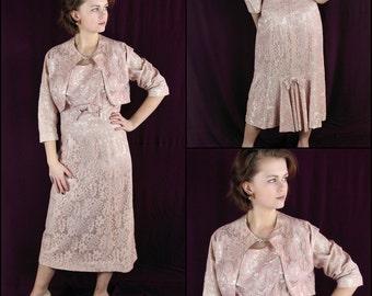 50s Wiggle Dress, Bolero Jacket, Lace, Vintage Wedding, Pink