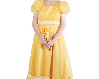 60s 70s Nadine Dress Vintage Wedding Polka Dot Yellow Party Prom Rockabilly