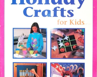 Craft Book-1 Hour Holiday Crafts for Kids-64 Pages-Cindy Groom Harry-Publications International, Ltd.-1994-Soft Cover-Vintage-Color Pictures