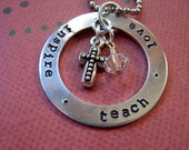 Teacher appreciation necklace to thank or for a gift teach love inspire could have names