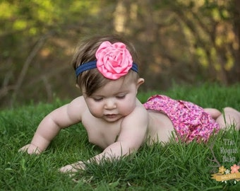 Neon Pink & Navy Blue Headband - Newborn Baby Toddler Girls Adult - Bright Pink
