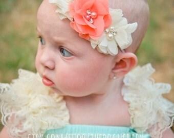 Coral & Ivory Pearl Rhinestone Soft Chiffon Headband. Preemie Wedding Flower GIrl Rustic Wedding Chic Peach Cream
