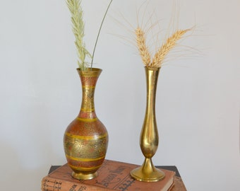 Vintage Brass Vases. Set of 2. Made in India. Gold Toned Brass Metal. One w/ Orange & Yellow Intricate Design. Small Tabletop Bud Vases