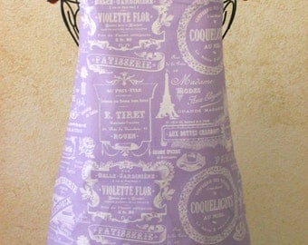 Paris Apron - Handmade Full Chef Toile Women's Hostess Cotton Fabric Aprons with French Eiffel Tower, Patisserie & Parisian Inspired Designs
