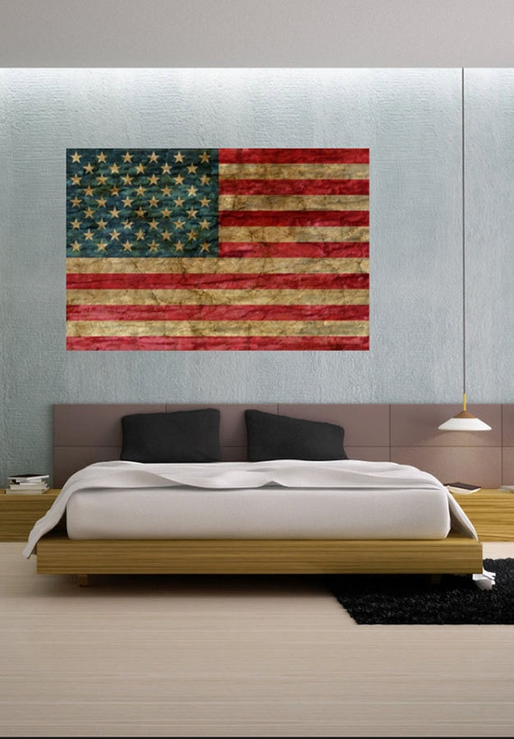 Faded rustic american flag landmark vinyl wall by uberdecals for American flag wall mural