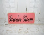 Bathroom Sign Powder Room Wall Decor Cottage Chic Country Home Decor Signs