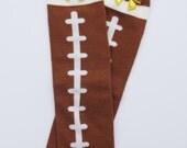 Football Print Leg Warmers & Headband Set - Photo Prop - Great Gift For Newborn Girls Baby Infant, Toddlers - Bow Leg Warmers