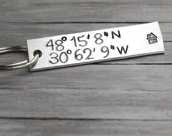 Latitude Longitude Key Chain, Coordinate Key Chain, Custom Coordinates, Personalized Key Chain, Hand Stamped Key Ring,
