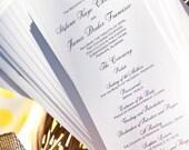Custom Wedding Program, Tea Length with Elegant Monogram