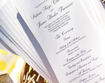 Custom Wedding Program, Tea Length with Elegant Monogram
