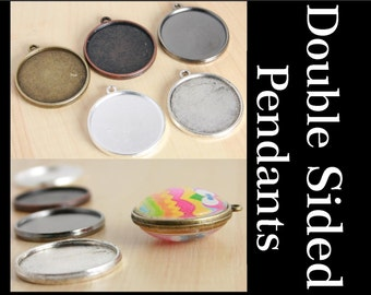 25 Original TAG Style 25mm Pendant, Two Sided, Double Sided, Round Alloy. Optional Glass (50), Seals (50 or 100) Offered