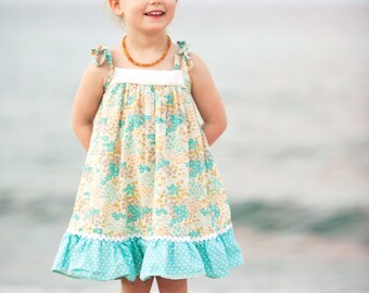 Girls Sun Dress / Pale Turquoise Floral with white trim and polka dot ruffle / 12 month - 6