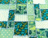 Baby Boy Rag Quilt Blanket - Dinosaurs -  Flannel - Green - Teal -  White - Chevron