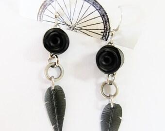 Bike Innertube Black Rose Feather Earrings - Recycled Jewelry - eco friendly - bicycle - handmade