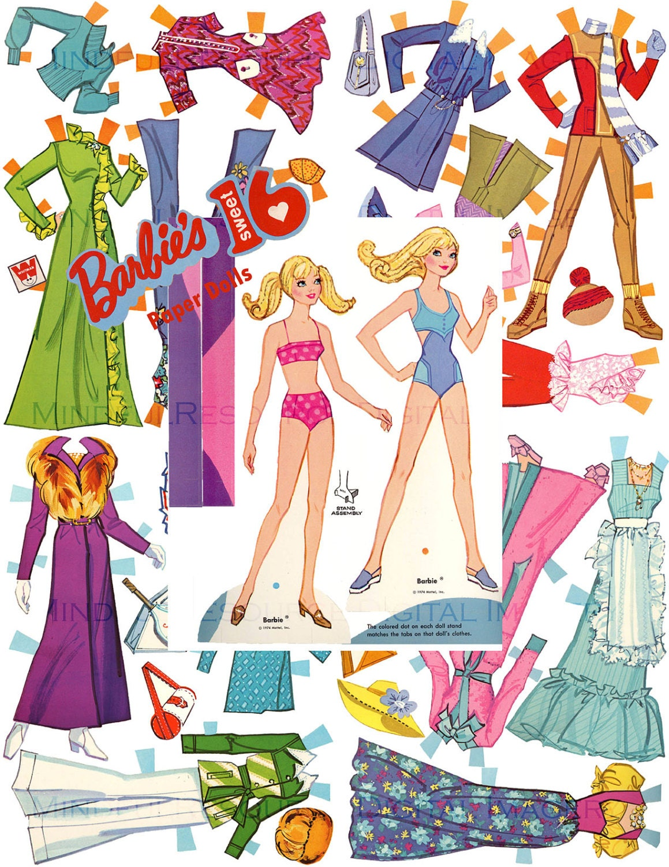 Barbie Paper Doll Sweet 16 Retro 70s Fashion Vintage
