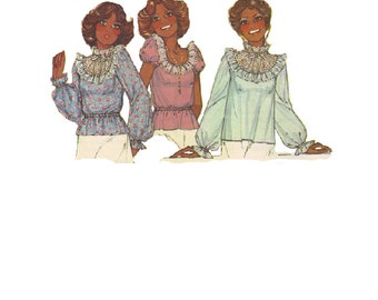 Retro 70s Lace Frilly Blouse McCall's 6110 Sewing Pattern Long Short Sleeve Shirt Loose Fit Top Boho Hippie Style Uncut FF Bust 38