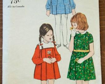 1960's Vogue Paris Design Girl's Dress and Smock pattern - Size 7 - No. 5981
