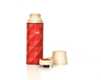 Red Vintage Thermos - Mid Century  -  Pint Size Metal