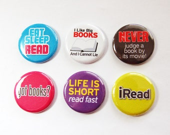 Reading Magnets, iRead, button magnets, Kitchen Magnets, Love to Read, Gift for Librarian, books, stocking stuffer (3309)
