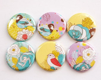 Flower Magnets, Bird Magnets, Turquoise, Yellow, Purple, Magnets, button magnets, Flowers, Birds, Kitchen Magnets, stocking stuffer (3385)