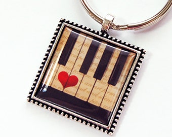 Piano Key Ring, Piano Key Chain, Key chain, Key ring, Keychain, keyring, stocking stuffer, under 10, Music Lover, Piano (4396)