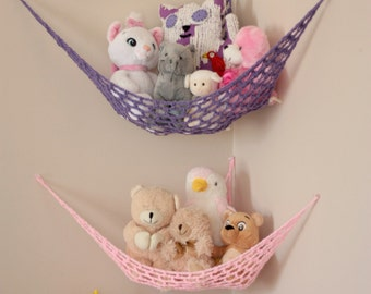 "Set of TWO MINI ""Lovey Corral"" Toy Hammock in Your Choice of Colors - Toy Net- Stuffed Animal Organizer - Made to Order"