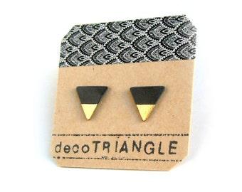 Porcelain triangle stud earrings- black, gold small geometric post earrings, studs, gift for her