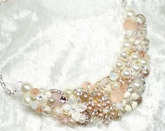 Blush Bib Necklace- Vintage-Inspired Statement Necklace-Blush Wedding Jewelry-Champagne Pink Necklace-Ivory & Pearl Bib-Bridal Statement Bib