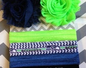 Seattle Seahawks Inspired Headband Hair Clip Set - Interchangeable Headband - Shabby Flower Clips - Football Team - Blue Green