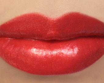 "Vegan Lipstick - ""Clementine"" (bright red orange lipstick) natural lip tint, balm, lip colour mineral lipstick"