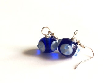 minimalist handblown blue glass earrings