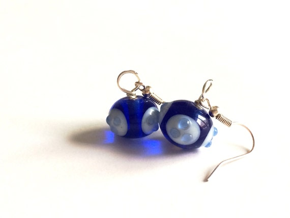 minimalist handblown blue glass earrings