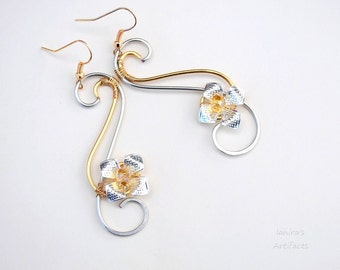Gold and silver earrings ~ Flower earrings ~ Handmade jewelry ~ Wire wrapped jewelry ~ Original designs