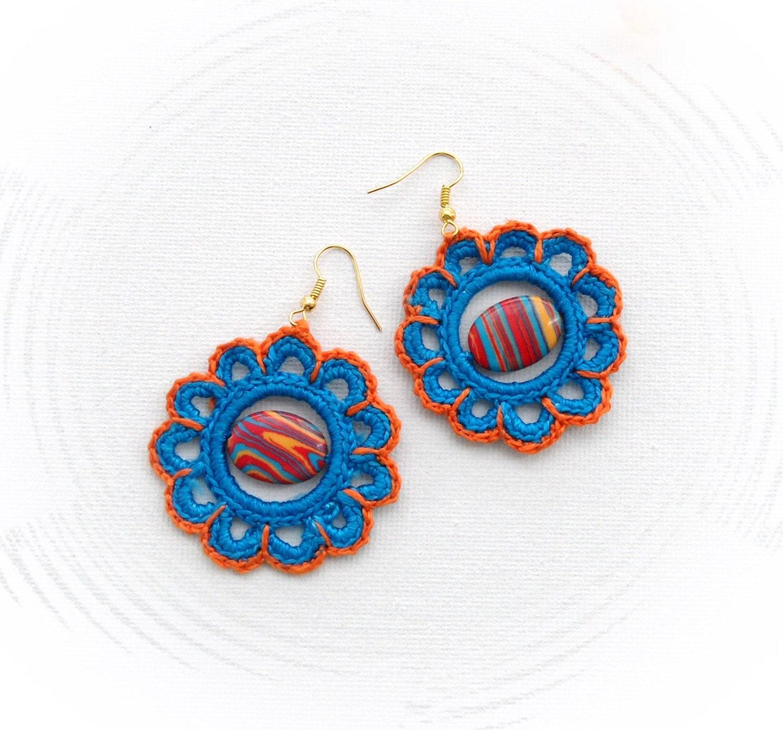 Crochet Hook Earrings: Crochet Earrings Beaded Earrings Circle Earrings Orange