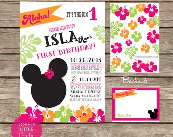 DIY Minnie Mouse Luau Invitation Kit - Invite AND Thank You Card included
