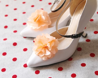 Peach Flower Shoe Clips - Wedding Shoes Bridal Couture Engagement Party Bride Bridesmaid