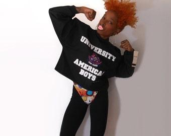 Club Kid/ Pastel Goth/ Crop Top Sweatshirt/ 90s Sporty/ 90s Crop Top/ 80s Sweatshirt/ 90s Sweatshirt/ Cropped Sweatshirt/ Black Crop Top