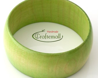Clearance: Wooden bangle - lime green bangle made of wood - size S