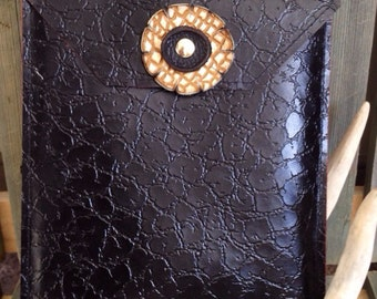 Black Patent Leather iPad Case - Leather Cover - One Of A Kind - Handmade - Gifts for Her