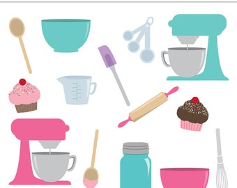 Kitchen Essentials Digital Clipart - 14 Pieces for Personal & Commercial Use - INSTANT DOWNLOAD