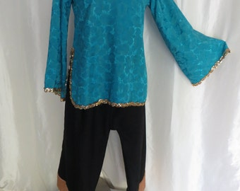 Womens dressy blouse, tunic, gold sequins, turquoise, bell sleeves, Persian, Halloween