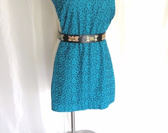 Vintage 70s womens summer mini dress cotton eyelit tunic shift  sun dress turquoise aqua blue